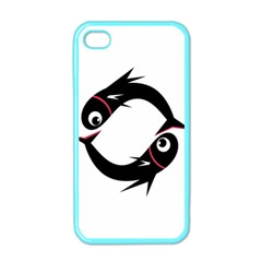 Black fishes Apple iPhone 4 Case (Color)