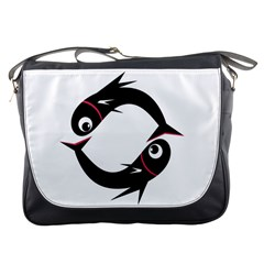 Black fishes Messenger Bags