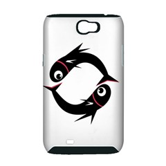 Black fishes Samsung Galaxy Note 2 Hardshell Case (PC+Silicone)