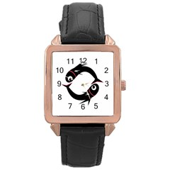 Black fishes Rose Gold Leather Watch