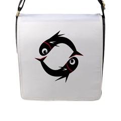 Black fishes Flap Messenger Bag (L)