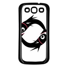 Black fishes Samsung Galaxy S3 Back Case (Black)
