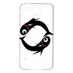Black Fishes Samsung Galaxy S5 Back Case (white)