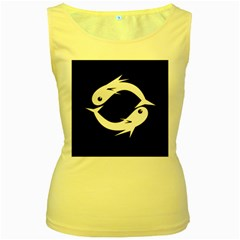 White fishes Women s Yellow Tank Top