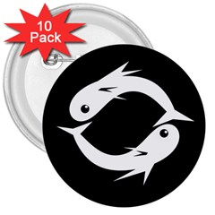 White Fishes 3  Buttons (10 Pack)
