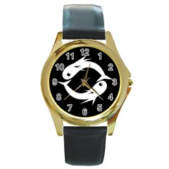 White fishes Round Gold Metal Watch