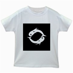 White fishes Kids White T-Shirts