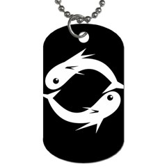 White fishes Dog Tag (One Side)