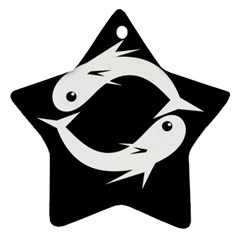 White fishes Star Ornament (Two Sides)