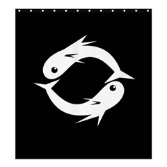 White fishes Shower Curtain 66  x 72  (Large)