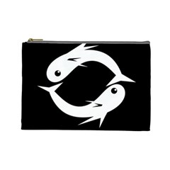 White fishes Cosmetic Bag (Large)