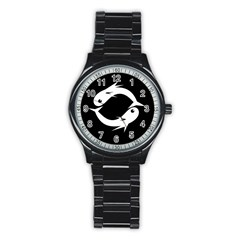 White fishes Stainless Steel Round Watch
