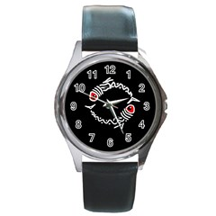 Abstract fishes Round Metal Watch