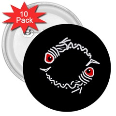 Abstract fishes 3  Buttons (10 pack)