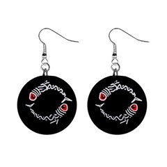 Abstract fishes Mini Button Earrings
