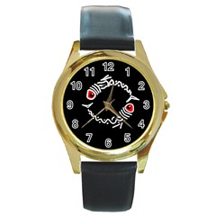 Abstract fishes Round Gold Metal Watch