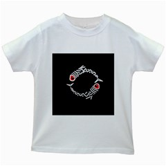 Abstract fishes Kids White T-Shirts