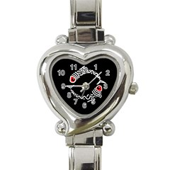 Abstract fishes Heart Italian Charm Watch