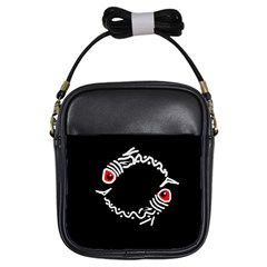 Abstract fishes Girls Sling Bags
