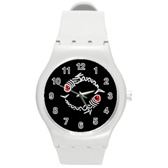 Abstract fishes Round Plastic Sport Watch (M)