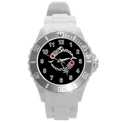 Abstract fishes Round Plastic Sport Watch (L)
