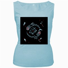 Abstract fishes Women s Baby Blue Tank Top