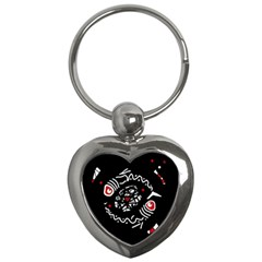 Abstract fishes Key Chains (Heart)