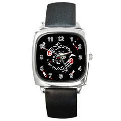 Abstract fishes Square Metal Watch