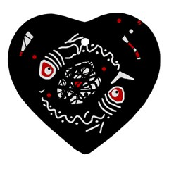 Abstract fishes Heart Ornament (2 Sides)