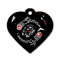 Abstract fishes Dog Tag Heart (One Side)