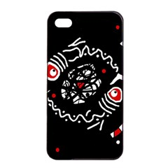 Abstract fishes Apple iPhone 4/4s Seamless Case (Black)