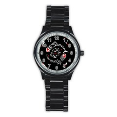 Abstract fishes Stainless Steel Round Watch