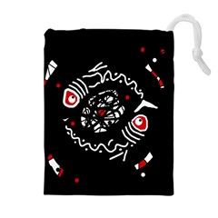 Abstract fishes Drawstring Pouches (Extra Large)