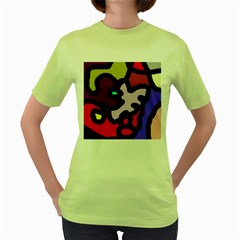 Colorful abstraction by Moma Women s Green T-Shirt