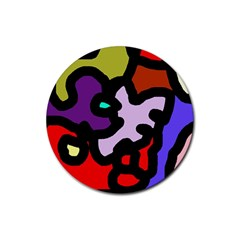 Colorful abstraction by Moma Rubber Coaster (Round)