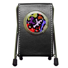 Colorful abstraction by Moma Pen Holder Desk Clocks