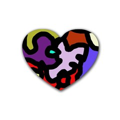 Colorful abstraction by Moma Rubber Coaster (Heart)
