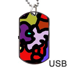 Colorful abstraction by Moma Dog Tag USB Flash (One Side)