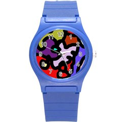 Colorful abstraction by Moma Round Plastic Sport Watch (S)