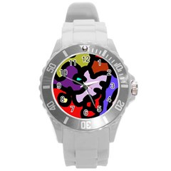 Colorful abstraction by Moma Round Plastic Sport Watch (L)