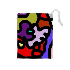 Colorful abstraction by Moma Drawstring Pouches (Medium)