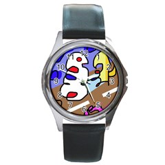 Abstract comic Round Metal Watch