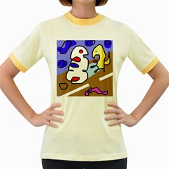 Abstract comic Women s Fitted Ringer T-Shirts
