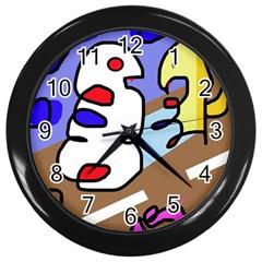 Abstract comic Wall Clocks (Black)