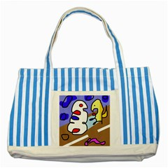 Abstract comic Striped Blue Tote Bag