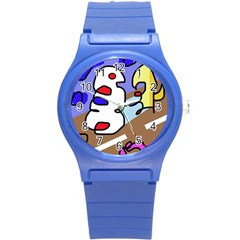 Abstract comic Round Plastic Sport Watch (S)