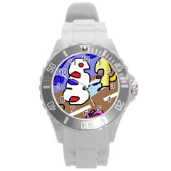 Abstract comic Round Plastic Sport Watch (L)