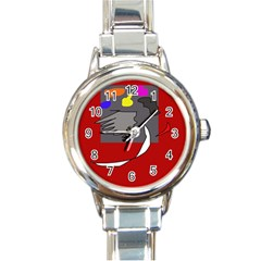 Red abstraction by Moma Round Italian Charm Watch