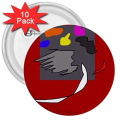 Red abstraction by Moma 3  Buttons (10 pack)