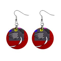 Red abstraction by Moma Mini Button Earrings